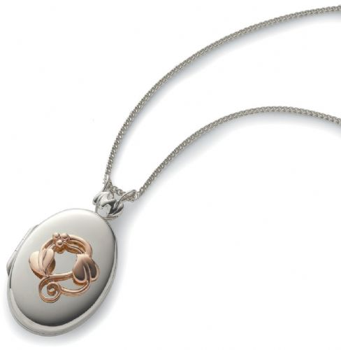 CLOGAU GOLD Tree of Life Locket Silver & 9ct Gold STLL01